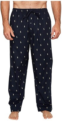 Polo Ralph Lauren Big All Over Pony Player Woven Pants (Navy/White Polo Player) Men's Pajama