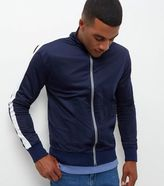 New Look Navy Contrast Stripe Sleeve Zip Up Jacket