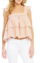 Copper Key Ruffle Gingham Sleeveless Top