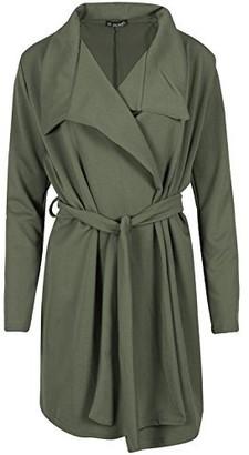 Fashion Star Womens Waterfall Belted Cardigan Collared Cape Italian Blazer Duster Coat Khaki