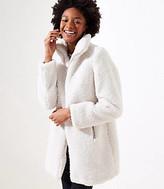 LOFT Petite Fleece Funnel Neck Coat