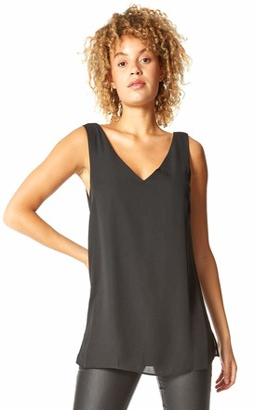 Roman Originals Women V-Neck Sleeveless Vest Top - Ladies Autumn Winter Holiday Evening Day Party Plain Floaty V-Back Detail Cami Tops - Black - Size 12
