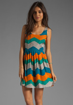BB Dakota Maggie Painted Zigzag Charmuese Dress