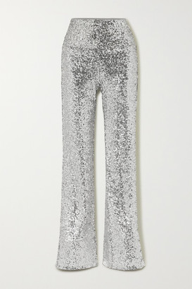 Norma Kamali Sequined Jersey Flared Pants - Silver
