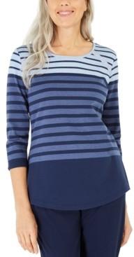 Karen Scott Petite Colorblocked Striped Top, Created for Macy's