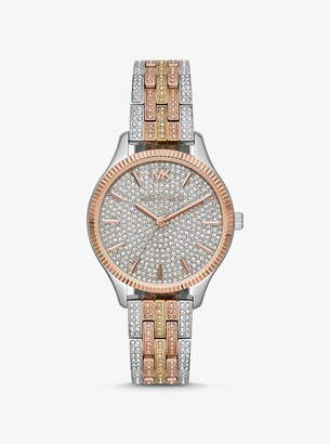 Michael Kors Lexington Pave Tri-Tone Watch