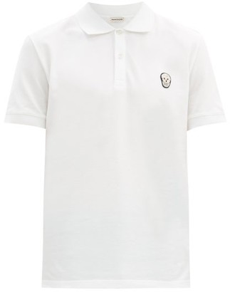 Alexander McQueen Zardozi Embroidered-skull Cotton-pique Polo Shirt - White