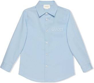 Gucci Kids Children's embroidered poplin shirt