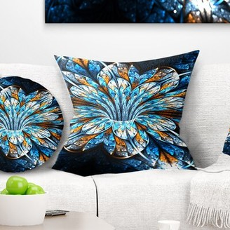 """East Urban Home Floral Fractal Flower in Dark Throw Pillow Size: 16"""" x 16"""", Product Type: Throw Pillow"""