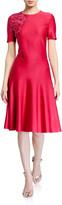 St. John Liquid Milano Knit Short-Sleeve Dress w/ Sequin Detail