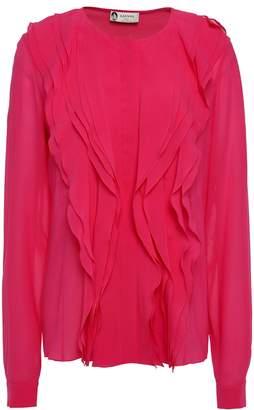 Lanvin Ruffled-trimmed Silk-blend Chiffon Blouse