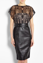 Mandy Lace And Leather Dress With Studded Belt