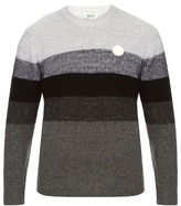 Kenzo Logo-appliqué Striped Wool-blend Sweater