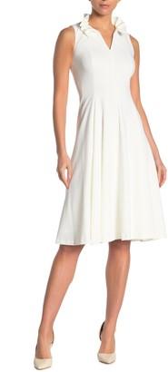 Calvin Klein Ruffled V-Neck Fit & Flare Dress