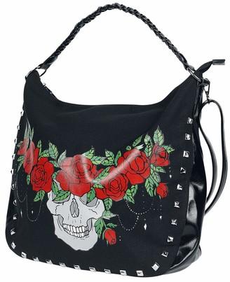 JAWBREAKER Women's Skull Crown Shoulder One Size Black Bag - Girl's Skull Crown Print Zip Closure Alternative Goth Gothic Punk Steampunk Shoulder Bags