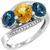Gabriella Gold 14K White Gold Natural Citrine & London Blue Topaz Sides 3 stone Ring Round 6mm Diamond Accent, size 9