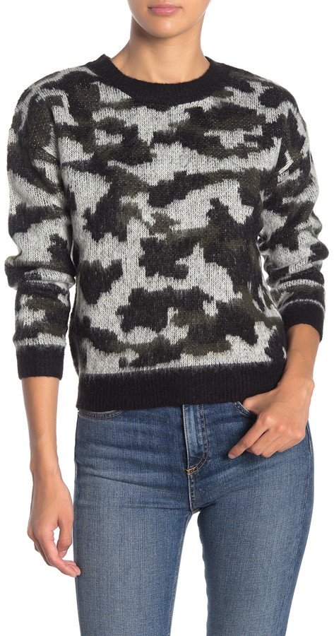 Love by Design Camo Print Fuzzy Knit Pullover Sweater