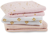 Aden Anais aden + anais Gold Printed Pink and White Swaddling Blanket - Set of 3