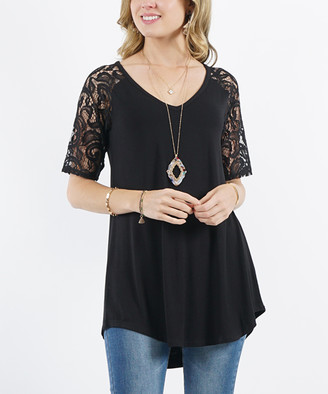 Lydiane Women's Tunics BLACK - Black V-Neck Lace-Sleeve Curved-Hem Hi-Low Tunic - Women