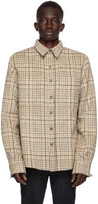 Faith Connexion SSENSE Exclusive Beige Wool and Mohair Checkered Shirt