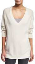 Alexander Wang Knit V-Neck Wool-Blend Sweater, Ivory
