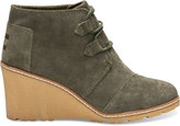 Toms Tarmac Olive Suede and Faux Crepe Wedge Women's Desert Wedge Booties