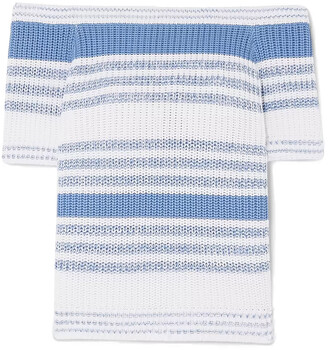 RED Valentino Off-the-shoulder Striped Ribbed Cotton Top