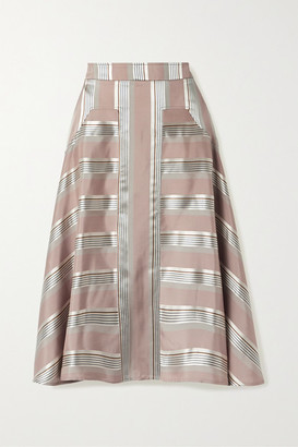 Palmer Harding Palmer//Harding palmer//harding - Manon Striped Satin Midi Skirt - Antique rose
