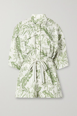 Zimmermann Empire Printed Linen Playsuit - Ivory