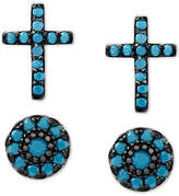 Macy's 2-Pc. Set Manufactured Turquoise Cross and Oval Stud Earrings in Sterling Silver