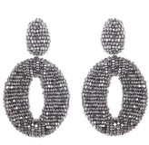 Oscar de la Renta Women's Beaded Frontal Hoop Clip Earrings