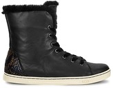 UGG Croft Embossed Leather, Shearling and Velvet Lace Up Sneakers