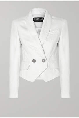 Balmain Button-embellished Double-breasted Distressed Denim Jacket - White