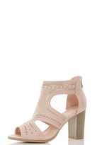 Quiz Pink Faux Suede Studded Cut Out Shoe Boots