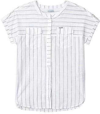 Columbia Camp Henrytm Relaxed Shirt (White Stripe) Women's Short Sleeve Button Up