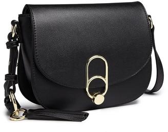 Miss Lulu Women Cross body Bag Fashion Tassel Decoration Zipper Handbags Flap with Lock Closure Shoulder Bag (Black)