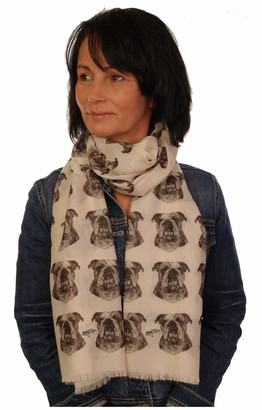 Branding House English Bulldog scarf with dogs on Premium dog print scarves hand printed in the UK - British Bulldog gifts for women