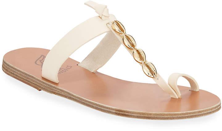 Ancient Greek Sandals Iris Metallic Seashell Flat Sandals
