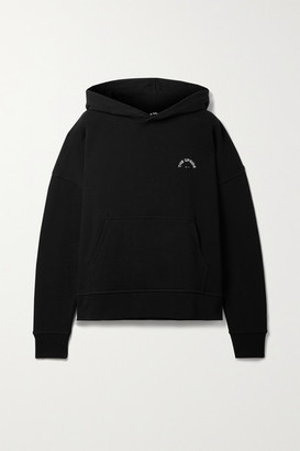 The Upside Embroidered Organic Cotton-jersey Hoodie - Black