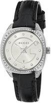 Gucci Women's Swiss GG2570 Diamond (3/4 ct. t.w.) Black Alligator Leather Strap Watch 29mm YA142507