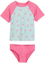 Floatimini Geo Palm Tree Rash Guard Set (Toddler & Little Girls)