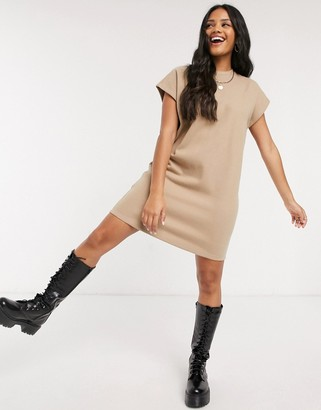 ASOS Design super soft T-shirt dress in camel
