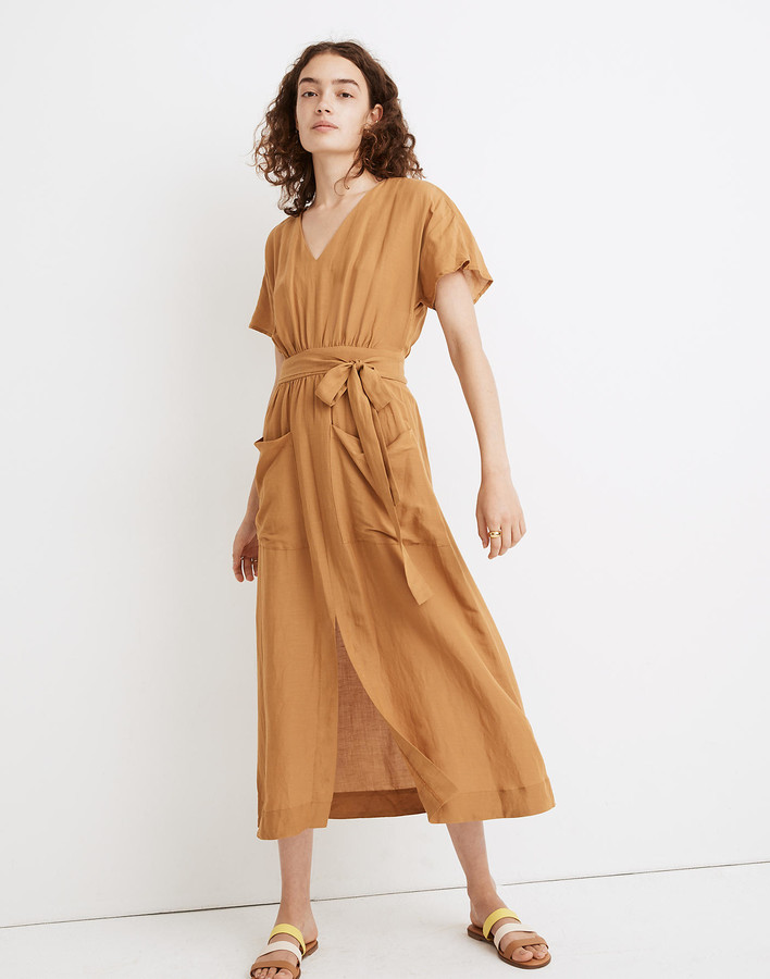 Madewell Linen-Blend Dolman-Sleeve Tie-Waist Midi Dress
