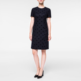 Paul Smith Women's Dark Navy Flocked Polka Dot Dress