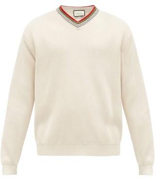 Gucci Web-stripe V-neck Cotton Sweater - White