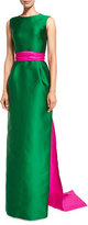 Oscar de la Renta Sleeveless Column Gown w/Contrast Sash, Evergreen/Hot Pink