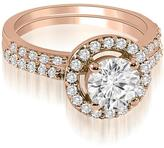 Ice 1 1/3 CT TW Halo Round Cut Diamond Bridal Set in 18K Rose Gold (SI2, H-I)