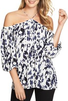 1 STATE 1.state Off-the-Shoulder Leopard Print Top