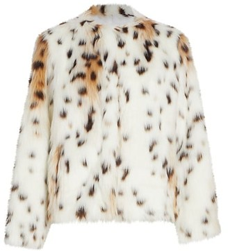 7 For All Mankind Short Snow Leopard Faux Fur Coat