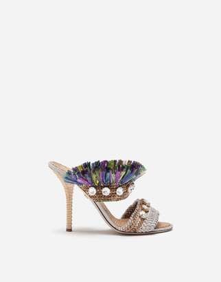 Dolce & Gabbana Mules In Straw With Bejeweled Embroidery